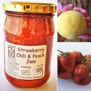 strawberry, chilli, peach jam